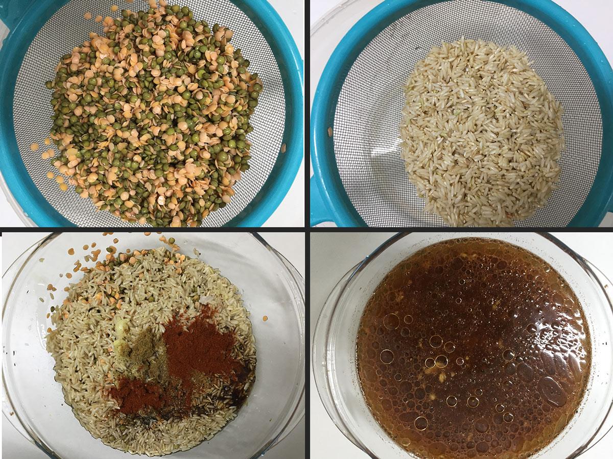 קדרת אורז מלא ועדשים