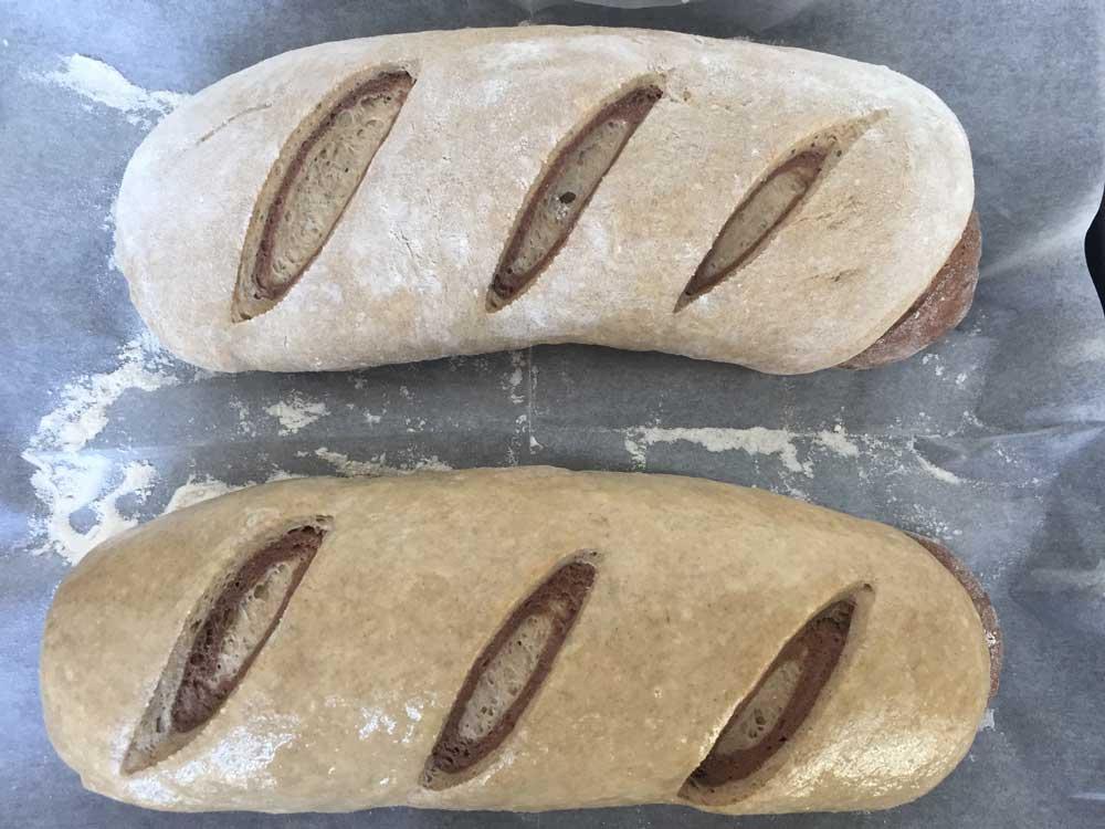 הלחם לפני הכניסה לתנור מוברש עם ביצה