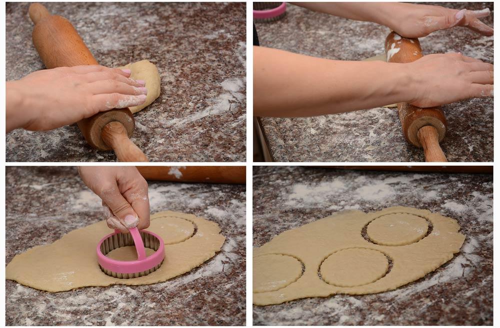 שלב 1 - רידוד הבצק וקריצת עיגולים לאוזני המן