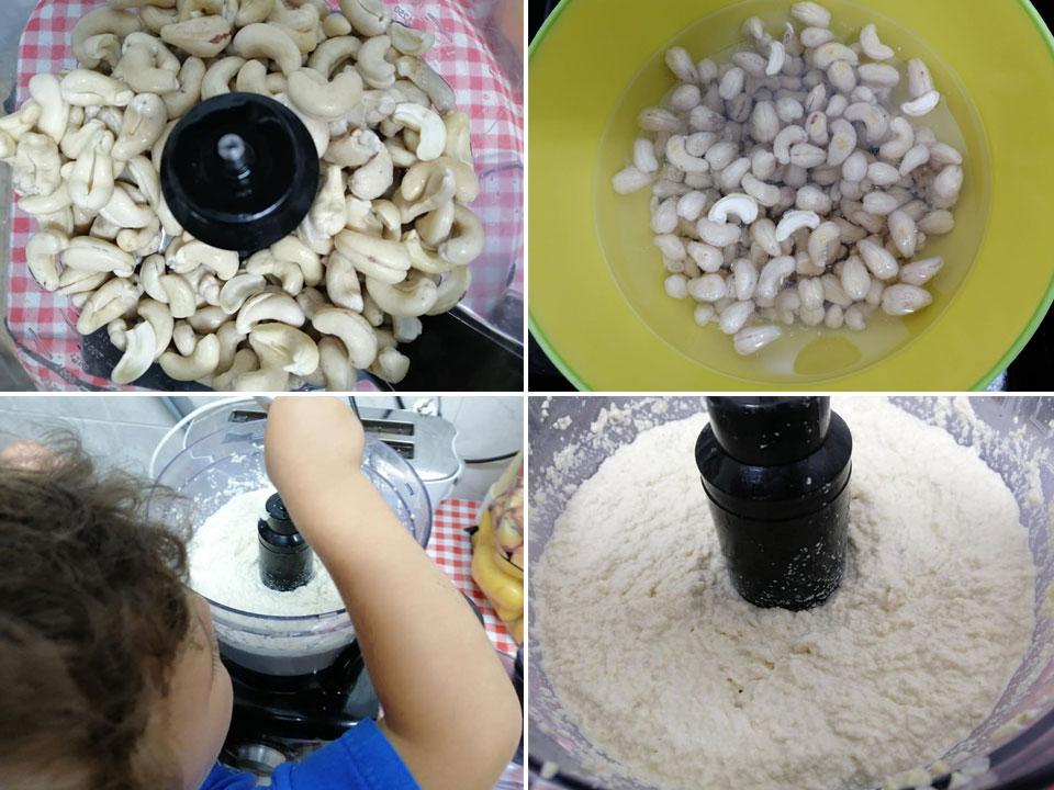 שלבי הכנת ממרח גינת קשיו לפיצה וללחם