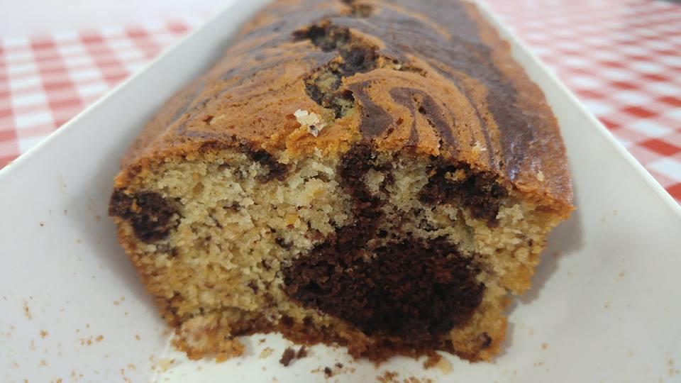 עוגת שיש בננות ושוקולד